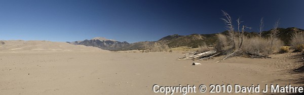 Medano Creek Panorama, Great Sand Dunes National Park, Colorado. (David J Mathre)