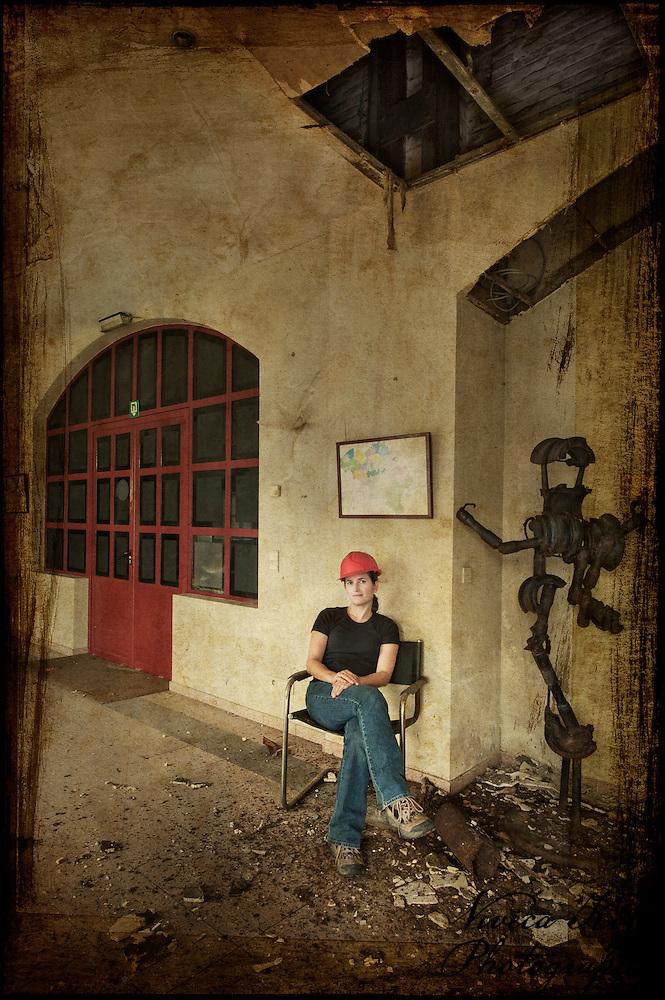 Self portrait in abandoned Belgian powerplant museum (Viveca Koh)