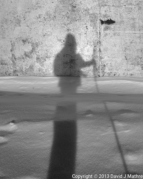 Shadow photographer fishing in Tromsø, Norway. Image taken with a Leica X2 camera (ISO 100, 24 mm, f/5.6, 1/400 sec). Raw image processed with Capture One Pro (including conversion to B&W). (David J Mathre)