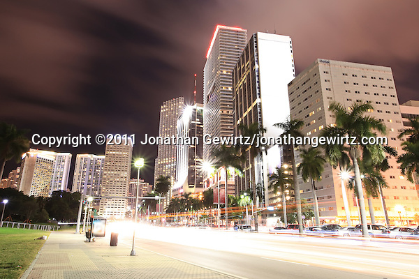 Condo, office and hotel buildings and traffic on Miami's Biscayne Boulevard at night. (Jonathan Gewirtz, jonathan@gewirtz.net)