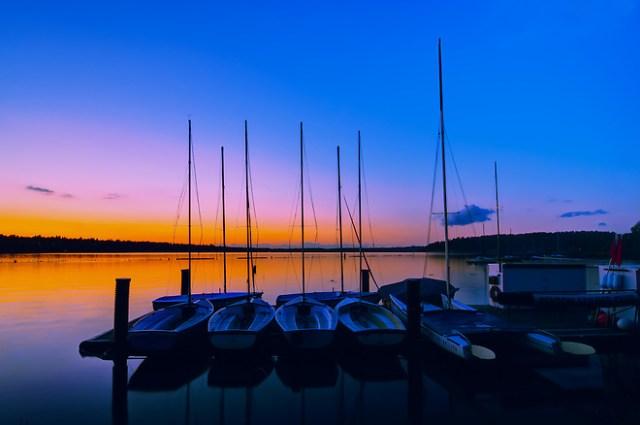 Sailboats on Lake Washington at Coulon Beach in Renton. (Rich Leighton)
