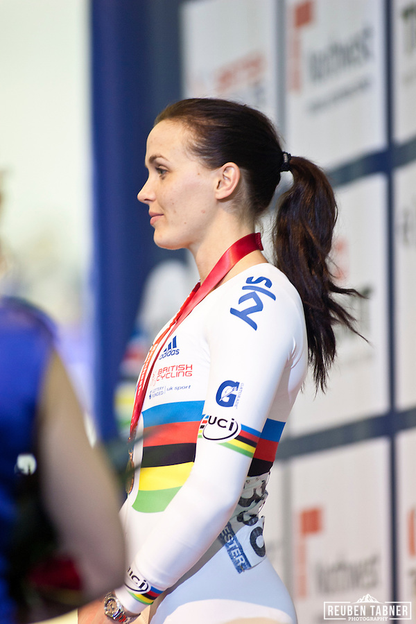 Victoria Pendleton claims Bronze in the Women's Sprint at the UCI Track Cycling World Cup in Manchester. (Reuben Tabner)
