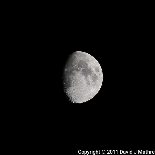 Waxing Gibbous Moon (75%). Autumn Night in New Jersey. Image taken with a Nikon D3s and 600 mm f/4 VR lens.  (ISO 200, 600 mm, f/16, 1/50 sec). (David J Mathre)