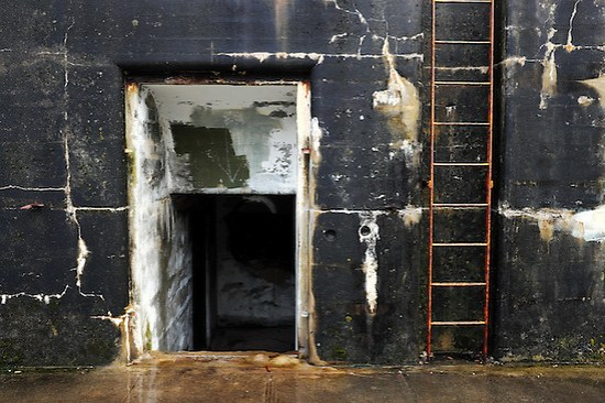 Rusty steel ladder and tunnel entry in moss and algae coverred concrete bunker wall, Artillery Hill, Fort Warden State Park, Port Townsend, Washington, USA (Brad Mitchell)