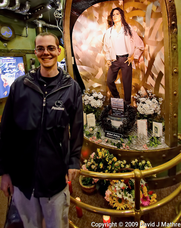 Michael Jackson Memorial at the San Francisco Wax Museum. Image taken with a Nikon D700 and 16 mm f/2.8 fisheye lens (ISO 1600, 16 mm, f/2.8, 1/160 sec). Raw image processed with DxO 6.5, Capture One Pro, Topaz DeNoise, and Photoshop CS5. (David J Mathre)