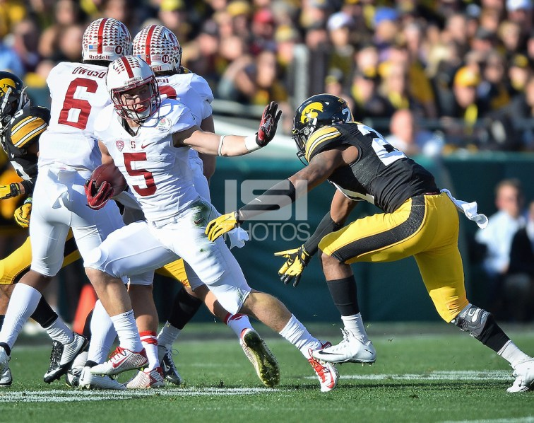 PASADENA, Ca - January 1, 2016: The Stanford Cardinal vs the Iowa Hawkeyes at the Rose Bowl in Pasadena, CA. Final score Stanford Cardinal 45, Iowa Hawkeyes 16 (John Todd/isiphotos.com)