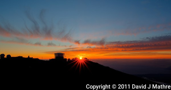 Sunset over Haleakala Satellite Tracking Station from Pu'U'Ula'Ula peak in Haleakala National Park, Maui Hawaii. Image taken with a Nikon D3x and 24 mm f/3.5 PC-E lens (ISO 100, f/16, 1/10 sec). HDR with Photomatix Pro (5 images) (David J Mathre)