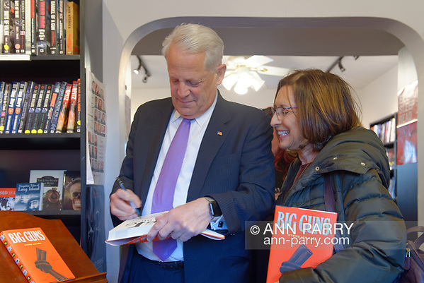 Rockville Centre, New York, USA. April 201, 2018. Rep. STEVE ISRAEL signs book for a fan at special event for the former Congressman's newest novel BIG GUNS, at Turn of the Corkscrew Books & Wine store. (© 2018 Ann Parry/Ann-Parry.com)
