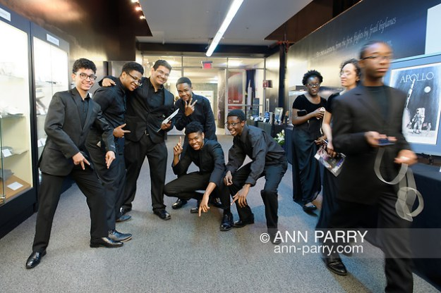 Garden City, New York, U.S. June 6, 2019. Freeport High School members of its Upperclassmen Jazz Band briefly stop to pose after performing  during Cocktail Hour at Cradle of Aviation Museum during Apollo at 50 Anniversary Dinner, an Apollo astronaut tribute celebrating the Apollo 11 mission Moon landing. Garden City. (© 2019 Ann Parry/Ann-Parry.com)