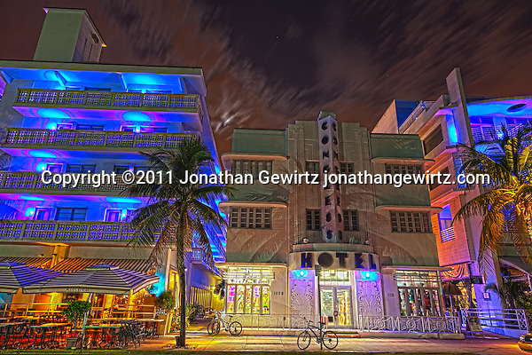 The Congress Hotel on South Miami Beach's Ocean Drive at night. (Copyright 2011 Jonathan Gewirtz jonathan@gewirtz.net)