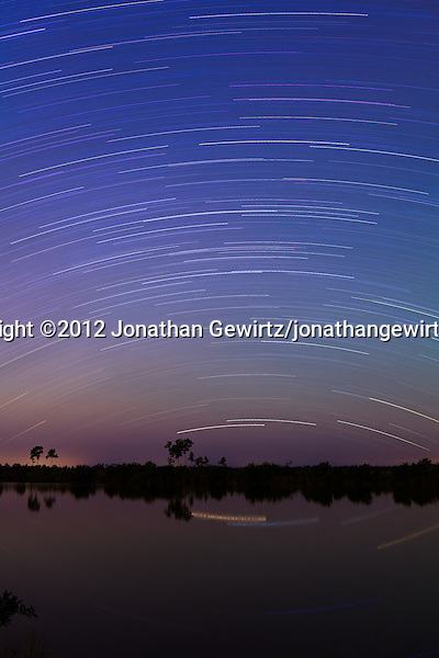 A one-hour exposure reveals the movement of stars in the night sky over a small lake in Everglades National Park, Florida. (© 2012 Jonathan Gewirtz / jonathan@gewirtz.net)