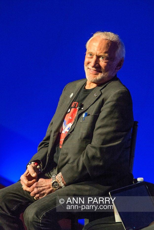 Garden City, NY, USA. October 23, 2015. Former NASA astronaut Edwin BUZZ ALDRIN - the second person ever to walk on the Moon - has a conversation about his experiences in space and his new Children's Middle Grade book Welcome to Mars: Making a Home on the Red Planet. (© 2015 Ann Parry/Ann-Parry.com)