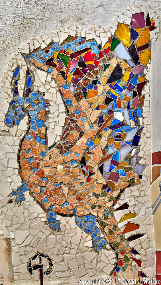Tile dragon in the shower room at Arthur Morgan School near Burnsville, North Carolina. Composite of 5 mages taken with a Leica T camera and 35 mm f/1.4 lens. (David J Mathre)