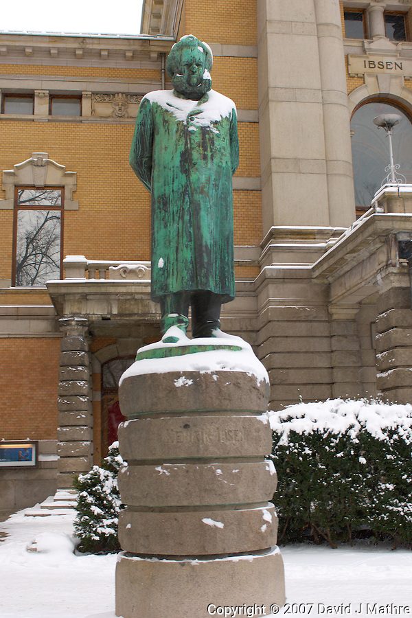 National Theater and Ibsen. Winter in Oslo Norway (David J Mathre)