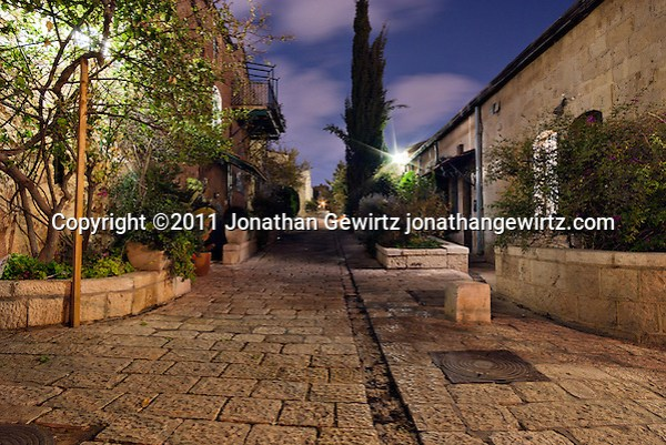 The guesthouses of Mishkenot Shaananim in Yemin Moshe, Jerusalem at night. (Jonathan Gewirtz)