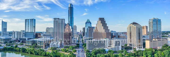 We captured this aerial panorama of the City of Austin skyline looking straight down Congress Ave.  In this cityscape you can see the Texas Capital along with many of the city high-rise buildings including the Frost, Austonian, W Hotel, Austin 360 CondosOne Congress Plaza, Radisson Hotel, Marriott, Four Season Hotel, along with the Ashton Condos, and One Congress.  Also in the photo are a bit of Lady Bird Lake. (Tod Grubbs & Cynthia Hestand)
