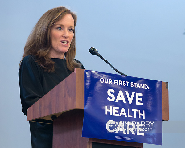 """Westbury, New York, USA. January 15, 2017. Representative KATHLEEN RICE (Democrat - 4th Congressional District) is speaking at the """"Our First Stand"""" Rally against Republicans repealing the Affordable Care Act, ACA, taking millions of people off health insurance, making massive cuts to Medicaid, and defunding Planned Parenthood. Hosts were Reps. T. Suozzi (Dem. - 3rd Congress. Dist.) and Rice. It was one of dozens of nationwide Bernie Sanders' rallies for health care that Sunday. (Ann Parry/Ann Parry, ann-parry.com)"""