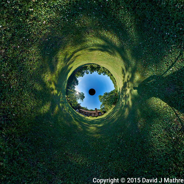 Tunnel View (Inverse Little Planet View) of My Backyard. Composite of 37 images taken with a Fuji X-T1 camera and Bower 8 mm f/2.8 fisheye lens (ISO 200, 8 mm, f/16, 1/30 sec). Raw images processed with Capture One Pro and AutoPano Giga Pro. (David J Mathre)