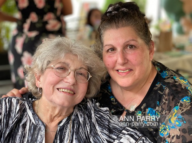 Seaford, NY, U.S. May 22, 2021. L-R, Joey's grandma and his mom Donna pose for photo during Laurie's outdoor Baby Shower at Puglia's Italian Restaurant. (© 2021 Ann Parry/AnnParry.com)