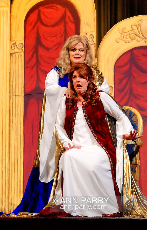 """MERRICK, NY - February 21: Duelling Divas stars, sopranos Birgit Firavante and Wendy Reynolds - wearing Roman cloaks and singing ?Mira, O Norma? and ?Casta Diva? from Bellini's """"Norma"""" - in comic opera concert presented by Merrick Bellmore Community Concert Association on February 21, 2010 at Merrick, NY. (Ann Parry/Ann Parry, ann-parry.com)"""