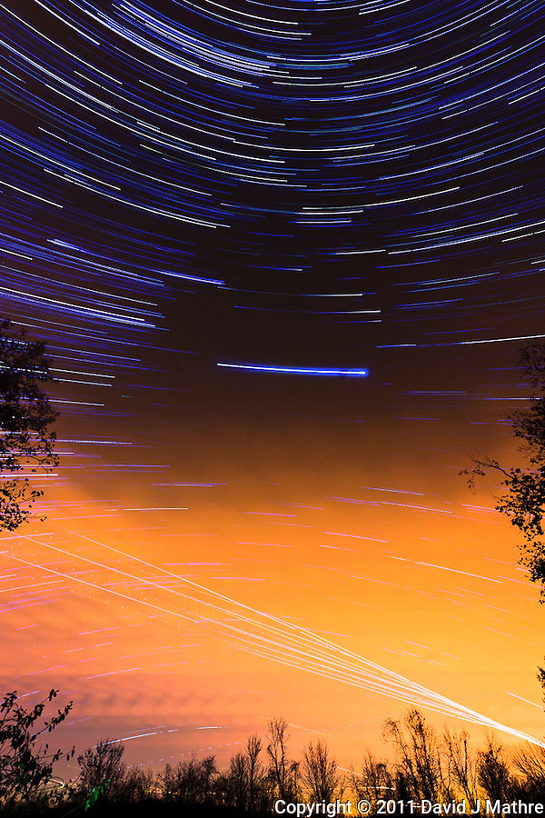South View Star Trails. Late Autumn Night in New Jersey. Image taken with a Nikon D3 and 14-24 f/2.8 lens (ISO 200, 15 mm, f/5.6, 60 sec). Composite of images 101-200 combined using the Startrails program. (David J Mathre)
