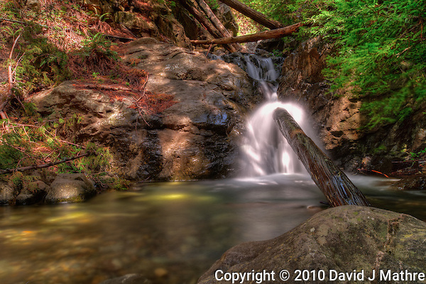 Redwood Gulch Falls, Los Padres National Forest, Central California Coast. Image taken with a Nikon D3x and 24 mm f/3.5 PC-E (ISO 100, 24 mm, f/16, 2.5, 5, 10, 20, 30 sec). Singh-Ray Filter. HDR Composite of 5 images using Photomatix Pro. (David J Mathre)