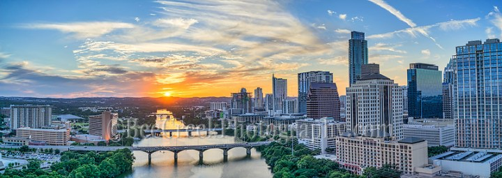 This is a panorama of the Austin Cityscape in downtown along Lady Bird Lake as the sun was setting with this gorgeous sunset.  You can see the city high-rises as the run along the waterfront along with the many bridges that span the lake, like the Congress bridge, all the way down to the Lamar Street Bridge .  The many well known high-rise building or in site such as Austin tallest building the Austonian, the 360 Condos, the W, the Marriot, Frost, Four Season, Hyatt and many more. (Tod Grubbs & Cynthia Hestand)