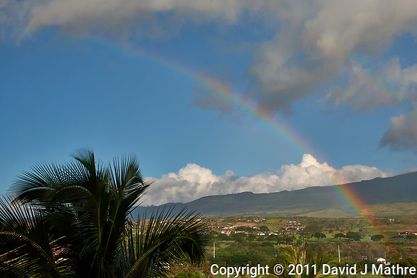Rainbow over Maui. Image taken with a Nikon D3x camera and 45 mm f/2.8 PC-E lens (ISO 100, 45 mm, f/16, 1/40 sec). (David J Mathre)