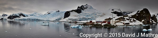 Panorama of Paradise Harbor and Brown Station (Estación Científica Almirante Brown) in Antarctica from the Deck of the Hurtigruten MS Fram. Composite of 16 image takens with a Fuji X-T1 camera and Zeiss 32 mm f/1.8 lens (ISO 200, 32 mm, f/16, 1/500 sec). Raw images processed with Capture One Pro, Focus Magic, Photoshop CC 2015, and AutoPano Giga Pro (David J Mathre)