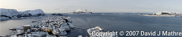 Ãlesund Winter Panorama. Image taken with a Nikon D2xs and 12-24 mm f/4 lens (ISO 400, 24 mm, f/11, 1/500 sec). Composite of 6 images combined with Kolor AutoPano Giga Pro. (David J Mathre)