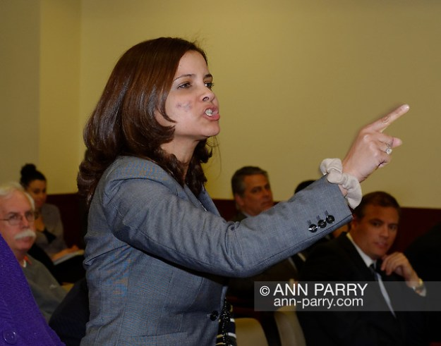 Mineola, New York, U.S. March 5, 2012. MILAGROS VICENTE, right, pointing finger,of North Valley Stream, calls out after a YES vote by one of the Repubican legislators during Nassau County Legislature vote, which went along party lines, to consolidate 8 police precincts into four. (© 2012 Ann Parry/Ann-Parry.com)