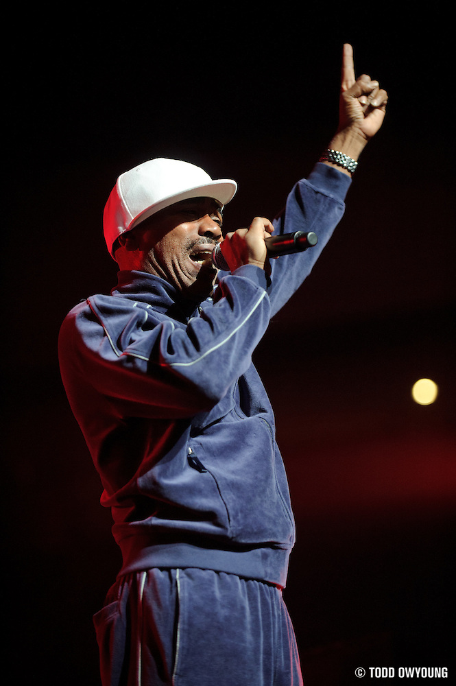 Kurtis Blow performing on the Legends of Hip Hop Tour at the Chaifetz Arena in St. Louis, Missouri on March 12, 2011. (Todd Owyoung)