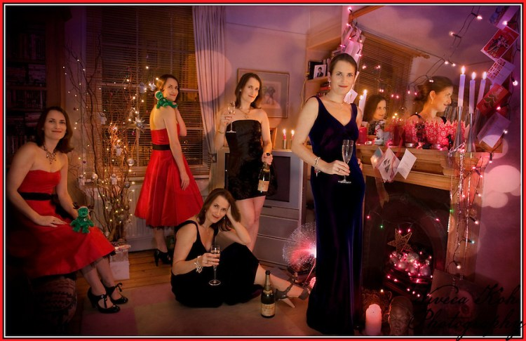 Multiple self-portrait photo Christmas card (Viveca Koh ARPS)