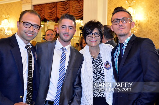 Garden City, New York, USA. Nov. 3, 2015. L-R, ANDREW GOLDSTEIN, CHRIS MELNYCZUK, RITA KESTENBAUM and KEVIN BRADY attend the Election Night Party of the Nassau County Democrats, at the Garden City Hotel. Kestenbaum was the Democratic candidate for Town of Hempstead Supervisor. (© 2015 Ann Parry/Ann-Parry.com)