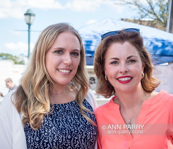 errick, NY, USA. Sept. 9, 2017. L-R, SUE MOLLER, (Dem - Merrick), candidate for Town of Hempstead Council District 6; and ERIN KING SWEENEY, (Rep - Wantagh) Town of Hempstead Councilwoman District 5, pause chatting to pose for photo at Merrick Fall Festival. (© 2017 Ann Parry/Ann-Parry.com)
