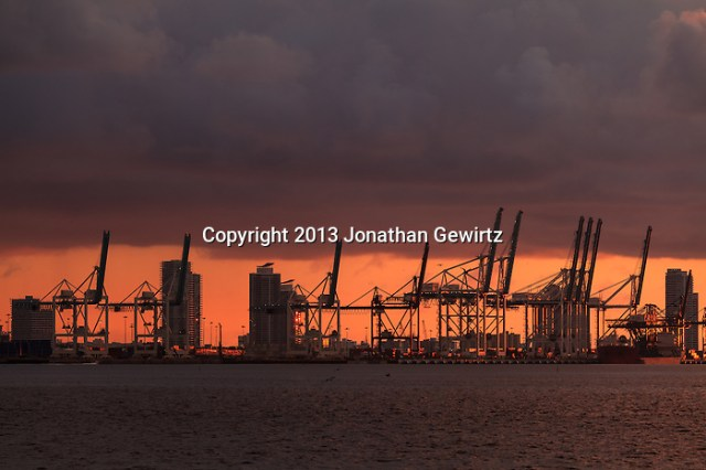 The port of Miami, Florida with Miami Beach condo buildings in the background, at sunrise. (Jonathan Gewirtz   jonathan@gewirtz.net)