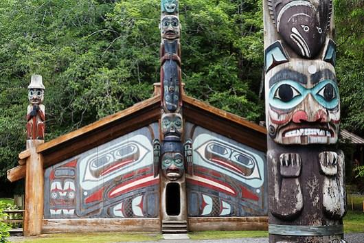 Replica of Clan House and Pole on the Point totem pole, Totem Bight State Historical Park, Ketchikan, Alaska (Copyright Brad Mitchell Photography.9601 Wall St.Snohomish, WA 98296.USA.425-418-7279.brad@bradmitchellphoto.com)