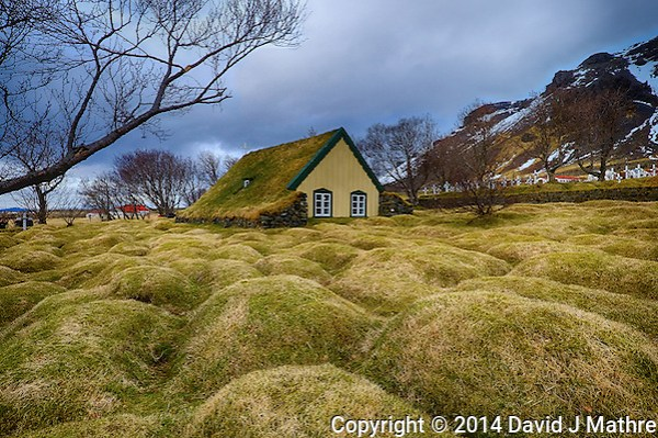 Grass Covered Unmarked Graves Surrounding the Sod Covered Hofskirija in Eastern Iceland. Composite of 3 images taken with a Fuji X-T1 camera and Zeiss 12 mm f/2.8 lens (ISO 200, 12 mm, f/16, 1/20, 1/40, 1/60 sec). Image processed using Google HDR Efex Pro. (David J Mathre)
