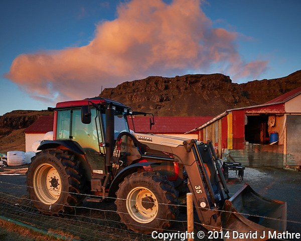 Early Morning View of a Valtra Tractor at the Smyrlabjorg Farm in Eastern Iceland. Image taken with a Nikon Df camera and 24 mm f/1.4G lens (ISO 100, 24 mm, f/1.4, 1/250 sec) (David J Mathre)
