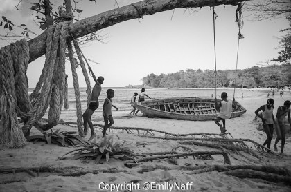 Children playing at Winifred Beach, Jamaica. (Emily Naff)