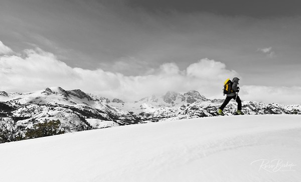Backcountry skier under Banner and Ritter Peaks in the Ansel Adams Wilderness, Sierra Nevada Mountains, California USA (Russ Bishop/Russ Bishop Photography)