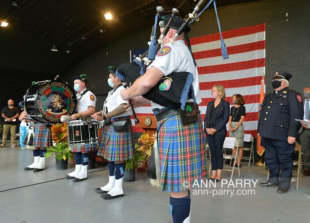 East Meadow, New York, U.S. September 10, 2020. Nassau County Police Emerald Society Pipe Band performs during the county's commemoration of 19th anniversary of September 11 terrorist attacks with Remembrance Ceremony at Eisenhower Park. (© 2020 Ann Parry/AnnParry.com)