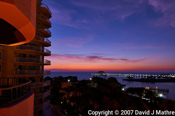 Colors at Dawn over Tampa Bay from a Vinoy Hotel Balcony in St. Petersburg, Florida. Image taken with a Nikon D300 camera and 14-24 mm f/2.8 lens.. (David J Mathre)