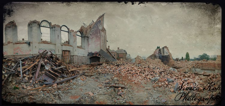 The demolished remains of the hall at Hellingly Asylum, demolished on 9th February 2011 (Viveca Koh)