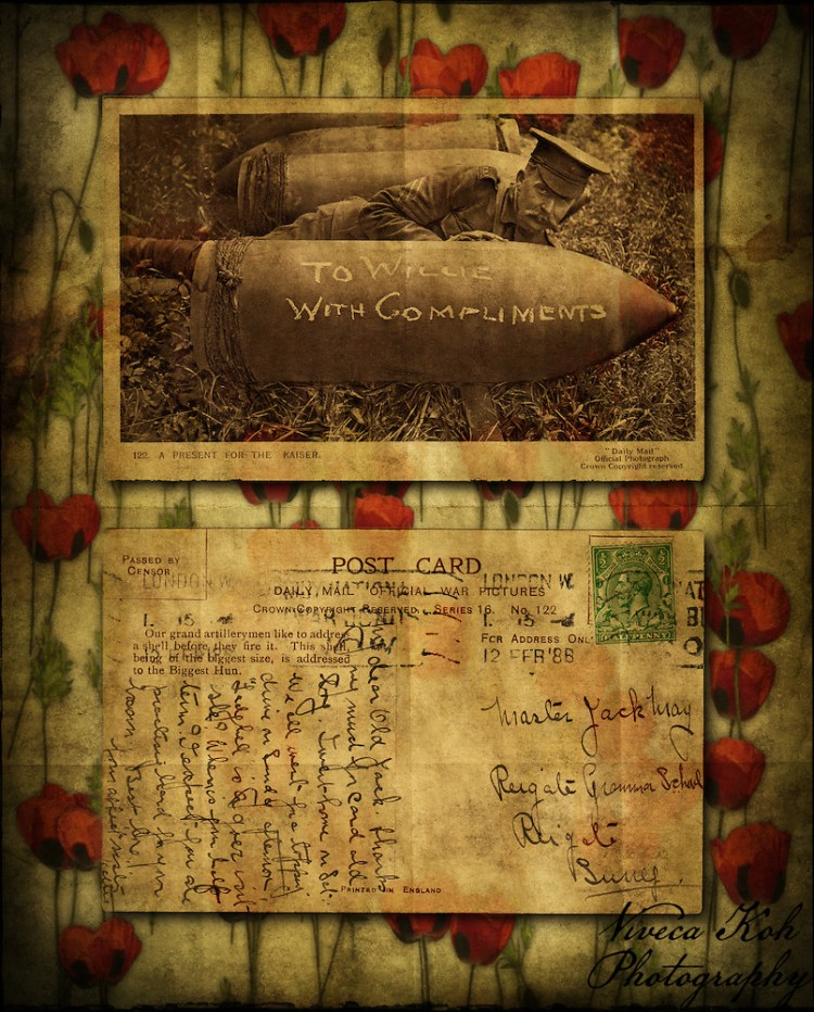 Vintage postcard of soldier and shell, with textures (Viveca Koh)
