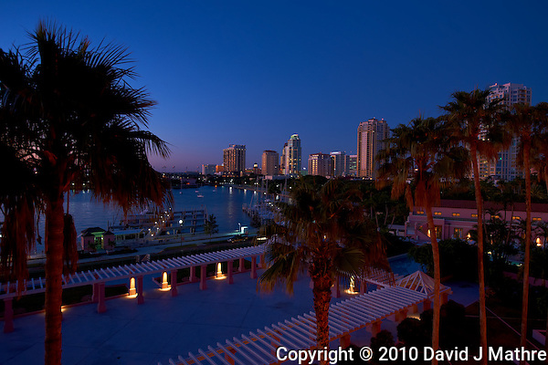 Downtown St. Petersburg at Dawn from the Vinoy Hotel. Image taken with an Nikon D3x and 16-35 mm f/4 lens (ISO 100, 22 mm, f/5.6, 0.5 sec). (David J Mathre)
