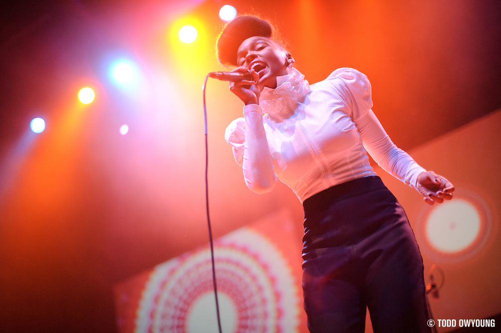 Photos of funk singer Janelle Monáe performing at the Pageant in St. Louis on October 21, 2010. (© Todd Owyoung)