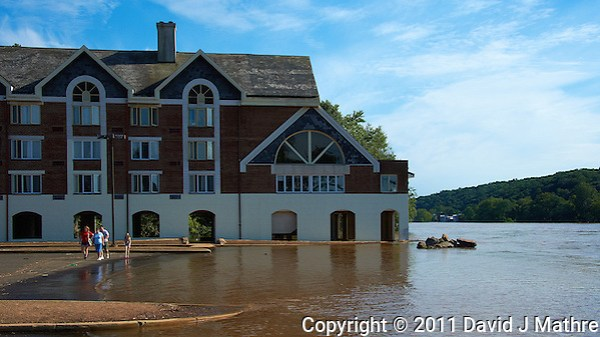 Lambertville Inn. Delaware River at Near Flood Stage after Hurricane Irene. Image taken with a Nikon D700 and 28-300 mm VR lens (ISO 200, 42 mm, f/8, 1/800 sec). Raw image processed with Capture One Pro 6, Nik Define 2, and Photoshop CS5. (David J Mathre)