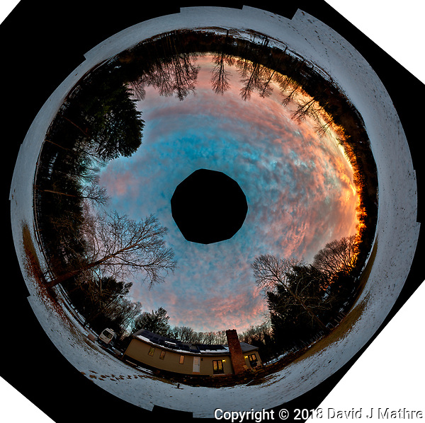 Inverse Little Planet Panorama of Dawn Winter Clouds and Sky Over New Jersey. Composite of 26 images taken with a Nikon D810a camera and 14-24 mm f/2.8 zoom lens (ISO 200, 24 mm, f/5.6, 1/30 sec). Raw images processed with Capture One Pro, Photoshop CC, and AutoGiga Pan Pro. (David J Mathre)