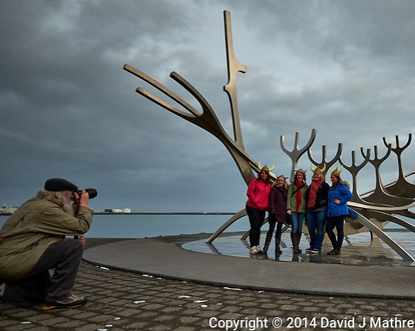 Four Women with Viking Helmets at the Sun Voyager (Sólfar) in Reykjavik. Image taken with a Fuji X-T1 camera and Zeiss 12 mm f/2.8 lens. (David J Mathre)